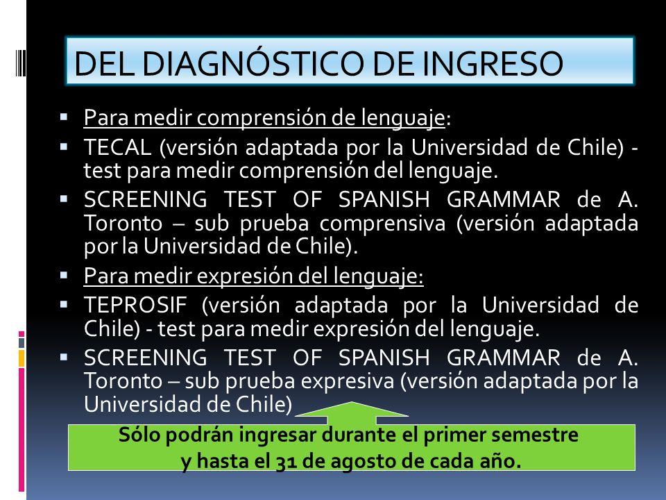 DEL DIAGNÓSTICO DE INGRESO