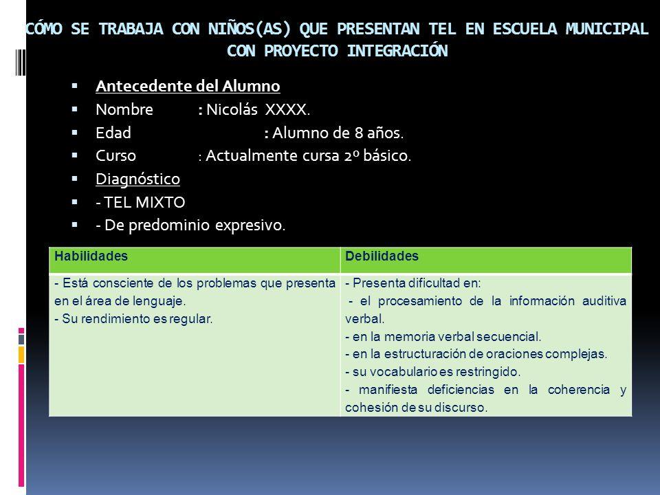 CÓMO SE TRABAJA CON NIÑOS(AS) QUE PRESENTAN TEL EN ESCUELA MUNICIPAL CON PROYECTO INTEGRACIÓN