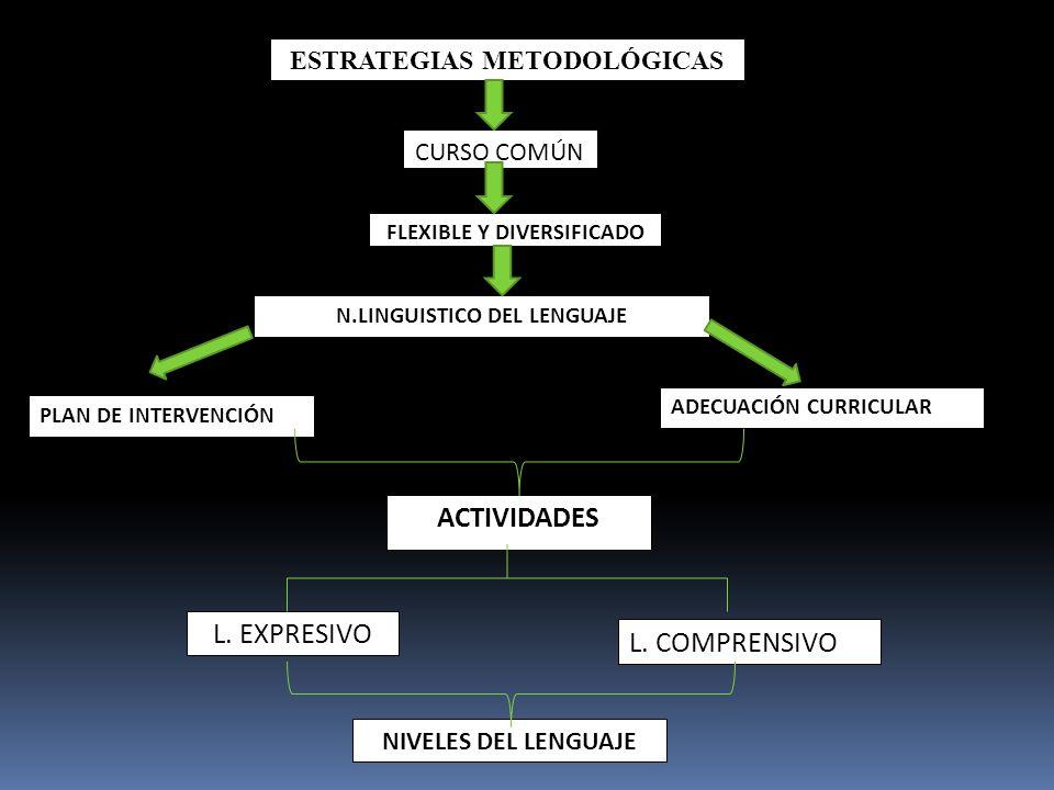 ACTIVIDADES L. EXPRESIVO L. COMPRENSIVO ESTRATEGIAS METODOLÓGICAS