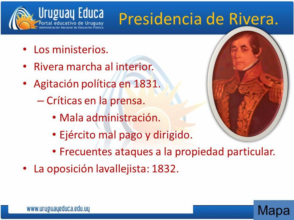 Presidencia de Rivera. Mapa Los ministerios.