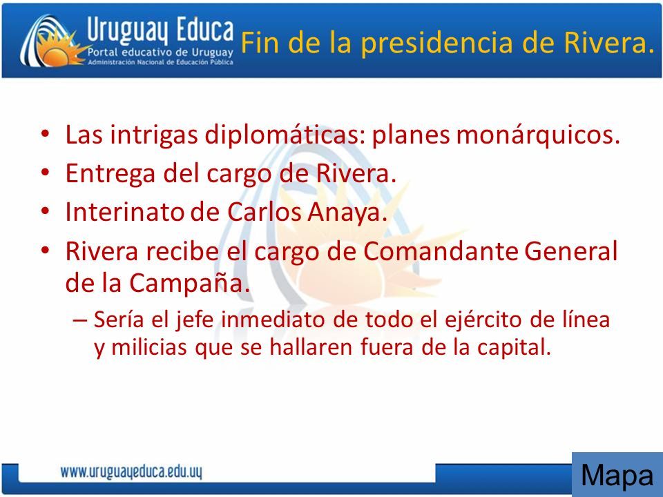 Fin de la presidencia de Rivera.