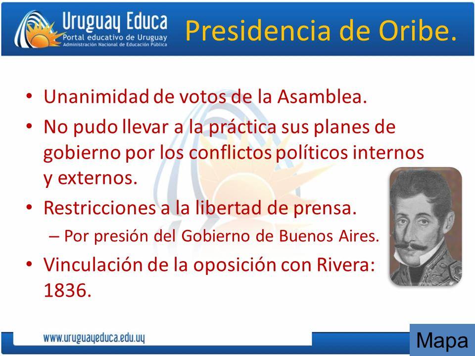 Presidencia de Oribe. Unanimidad de votos de la Asamblea.