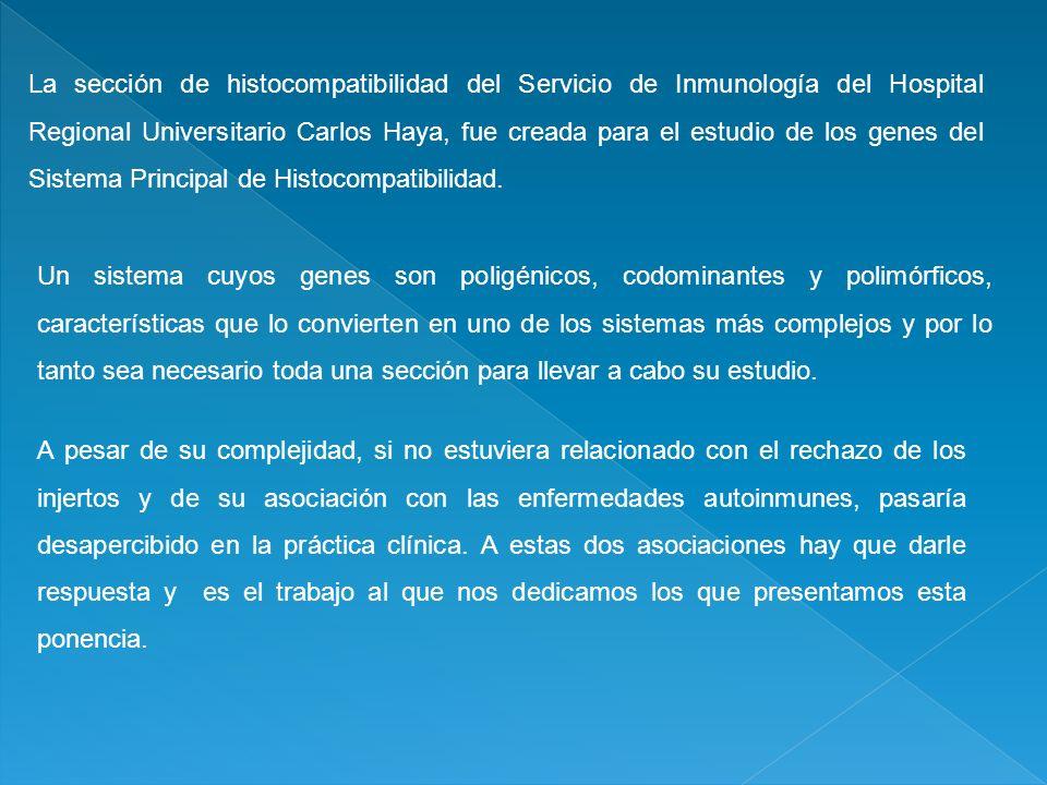 La sección de histocompatibilidad del Servicio de Inmunología del Hospital Regional Universitario Carlos Haya, fue creada para el estudio de los genes del Sistema Principal de Histocompatibilidad.