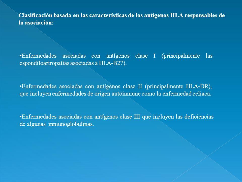 Clasificación basada en las características de los antígenos HLA responsables de la asociación: