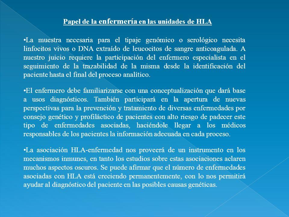 Papel de la enfermería en las unidades de HLA