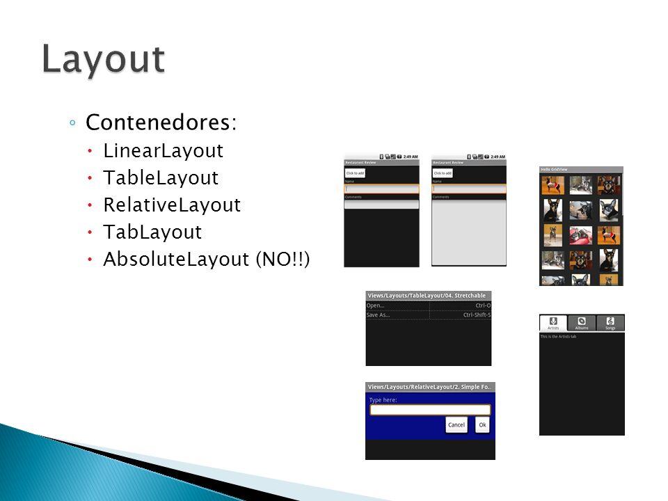 Layout Contenedores: LinearLayout TableLayout RelativeLayout TabLayout