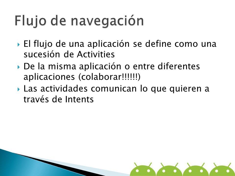 Flujo de navegación El flujo de una aplicación se define como una sucesión de Activities.
