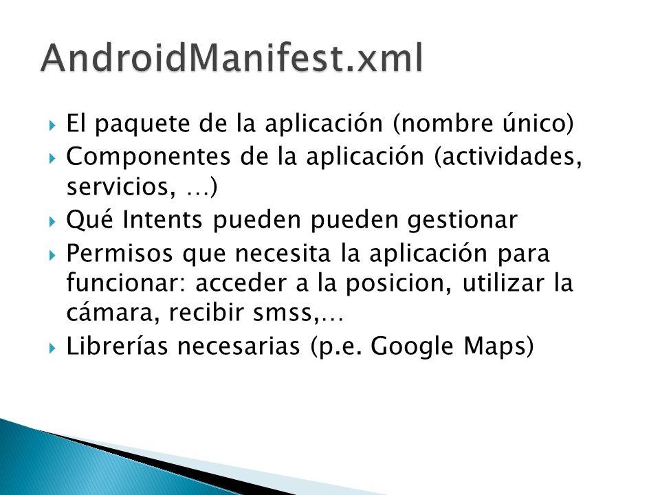 AndroidManifest.xml El paquete de la aplicación (nombre único)