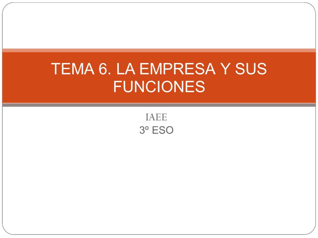 TEMA 6. LA EMPRESA Y SUS FUNCIONES