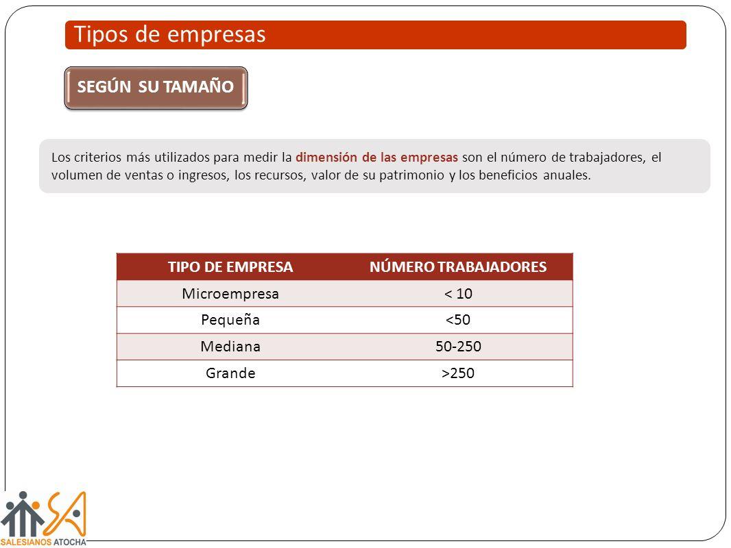 Tipos de empresas SEGÚN SU TAMAÑO TIPO DE EMPRESA NÚMERO TRABAJADORES