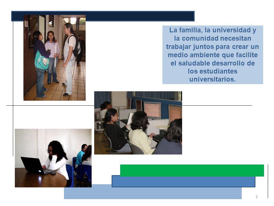La familia, la universidad y la comunidad necesitan trabajar juntos para crear un medio ambiente que facilite el saludable desarrollo de los estudiantes universitarios.