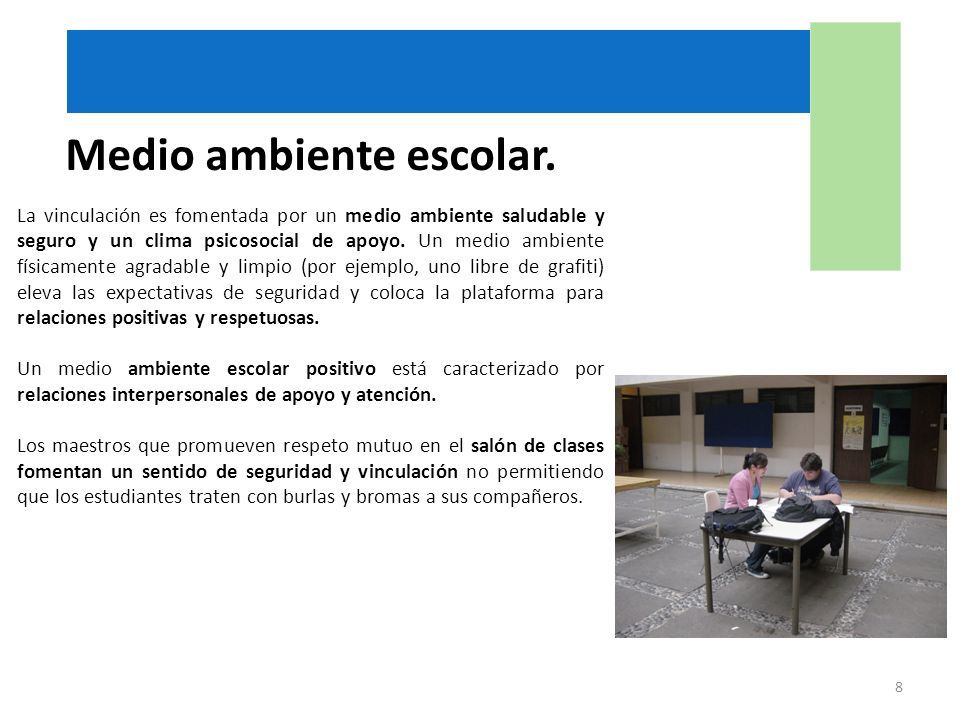 Medio ambiente escolar.