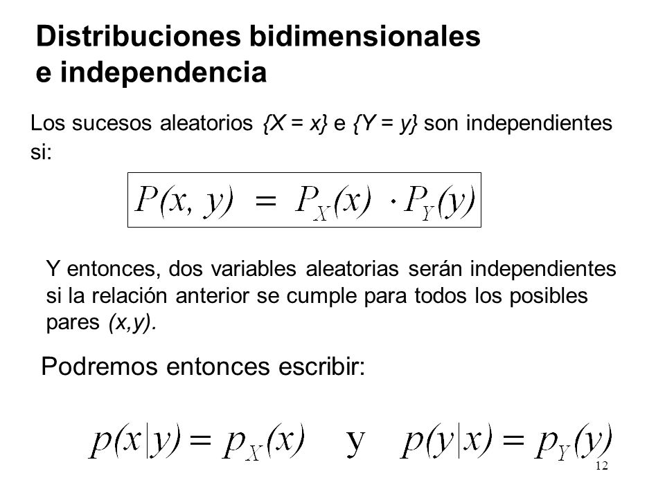 Distribuciones bidimensionales e independencia