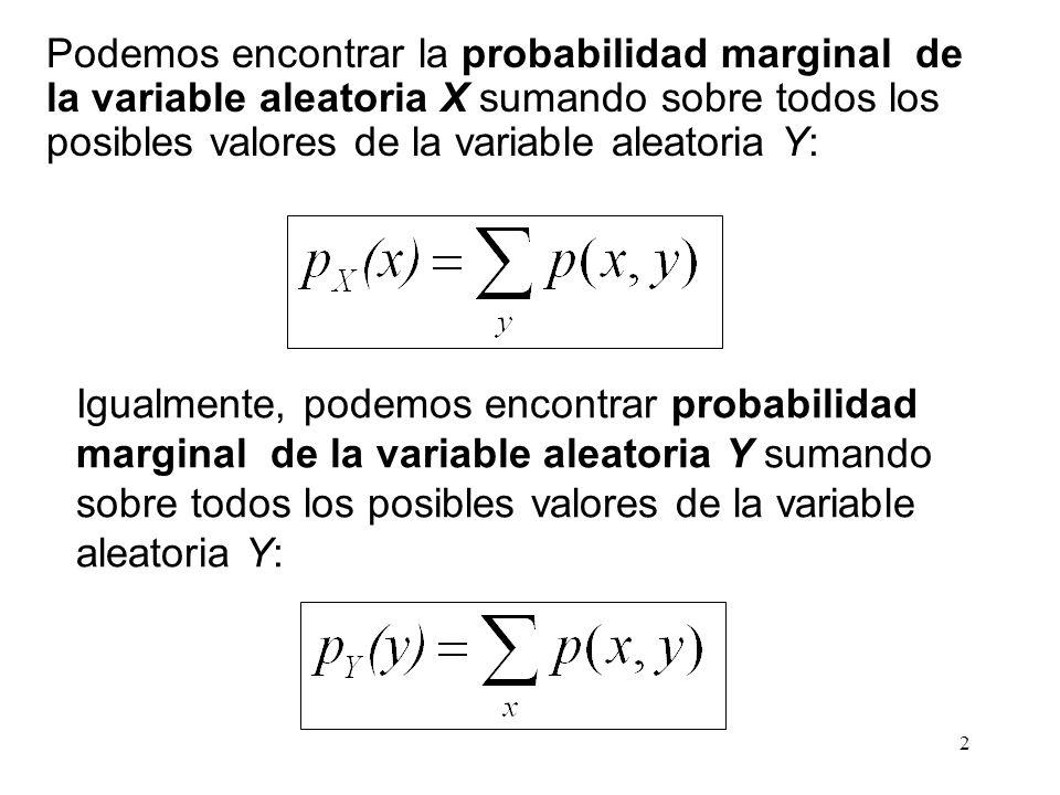 Podemos encontrar la probabilidad marginal de la variable aleatoria X sumando sobre todos los posibles valores de la variable aleatoria Y: