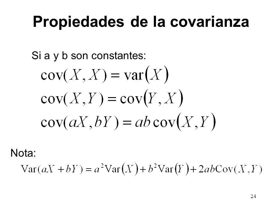 Propiedades de la covarianza