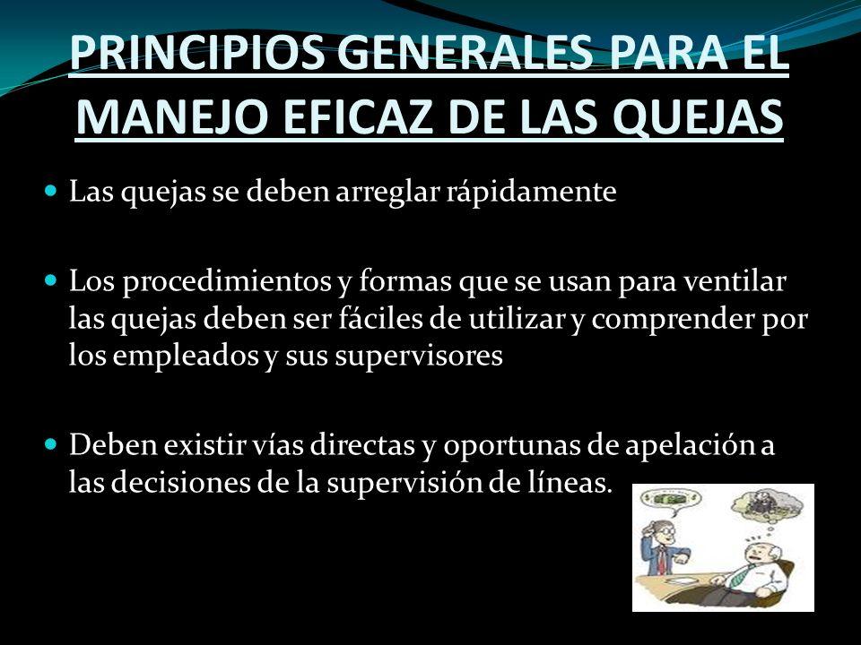PRINCIPIOS GENERALES PARA EL MANEJO EFICAZ DE LAS QUEJAS