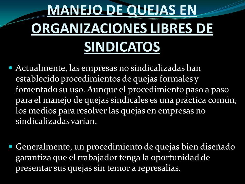 MANEJO DE QUEJAS EN ORGANIZACIONES LIBRES DE SINDICATOS