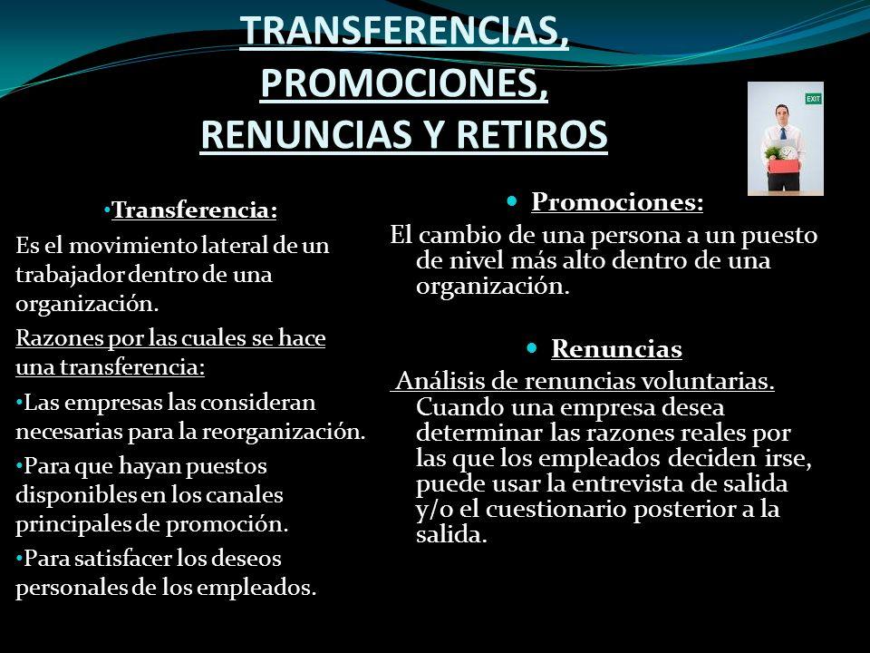TRANSFERENCIAS, PROMOCIONES, RENUNCIAS Y RETIROS