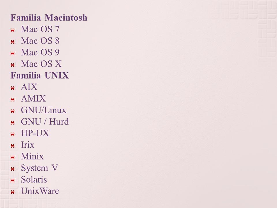 Familia Macintosh Mac OS 7. Mac OS 8. Mac OS 9. Mac OS X. Familia UNIX. AIX. AMIX. GNU/Linux.