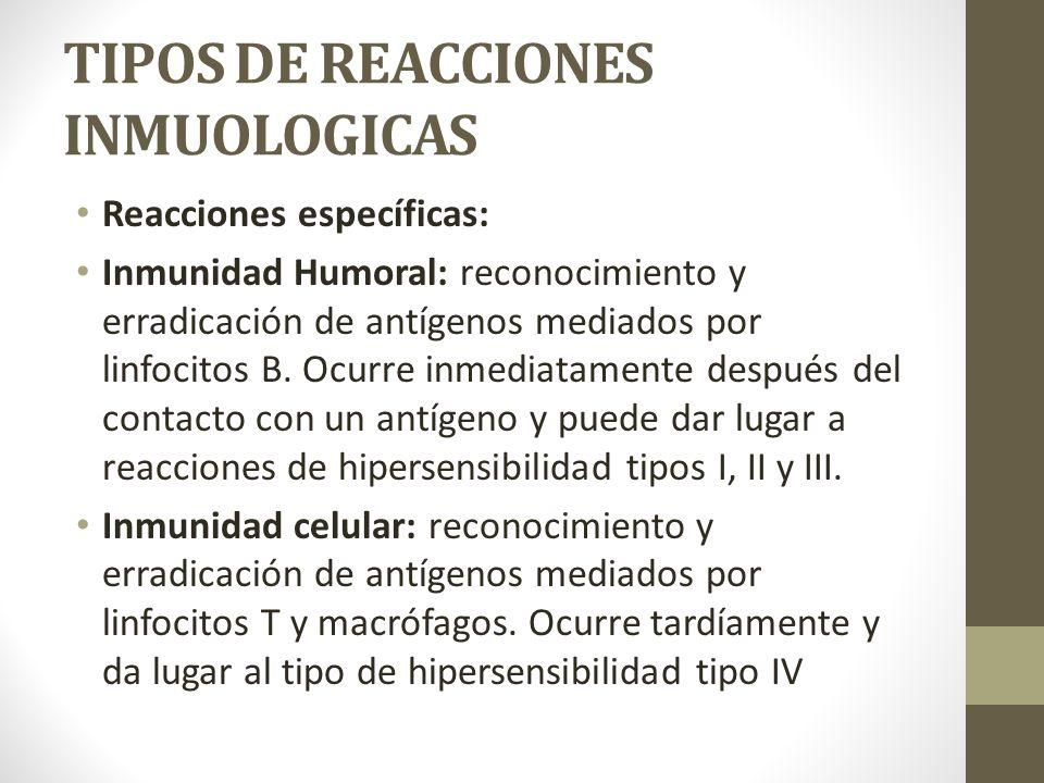 TIPOS DE REACCIONES INMUOLOGICAS