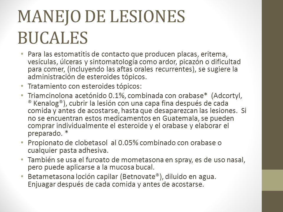 MANEJO DE LESIONES BUCALES