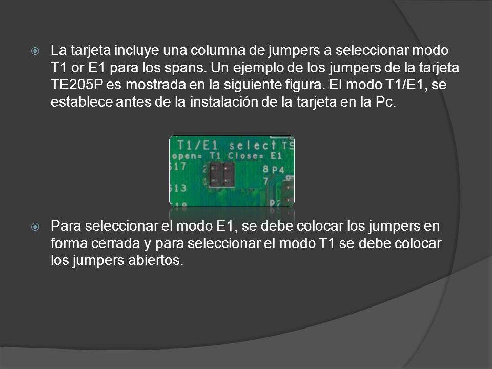 La tarjeta incluye una columna de jumpers a seleccionar modo T1 or E1 para los spans. Un ejemplo de los jumpers de la tarjeta TE205P es mostrada en la siguiente figura. El modo T1/E1, se establece antes de la instalación de la tarjeta en la Pc.