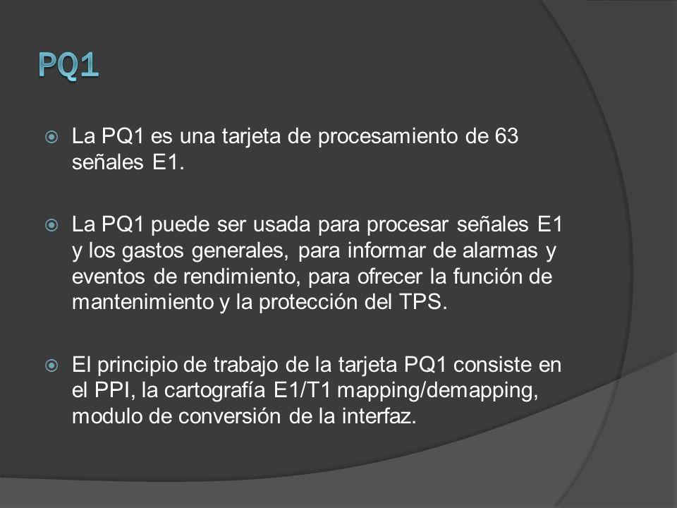 PQ1 La PQ1 es una tarjeta de procesamiento de 63 señales E1.