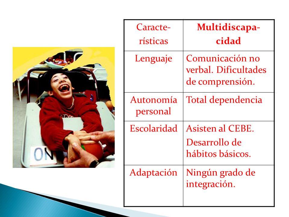 Caracte- rísticas. Multidiscapa- cidad. Lenguaje. Comunicación no verbal. Dificultades de comprensión.