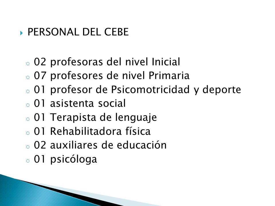 PERSONAL DEL CEBE 02 profesoras del nivel Inicial. 07 profesores de nivel Primaria. 01 profesor de Psicomotricidad y deporte.