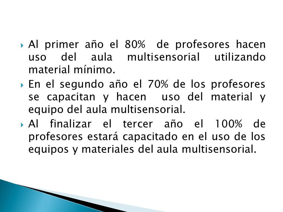 Al primer año el 80% de profesores hacen uso del aula multisensorial utilizando material mínimo.
