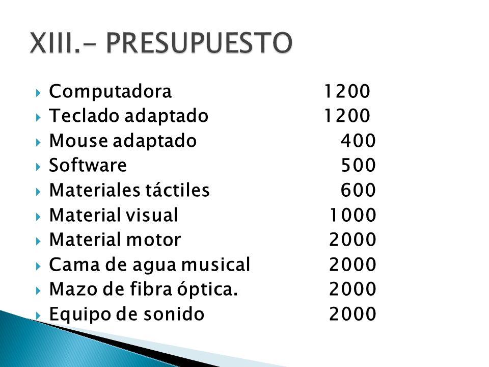 XIII.- PRESUPUESTO Computadora 1200 Teclado adaptado 1200