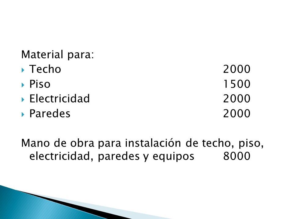 Material para: Techo 2000. Piso 1500. Electricidad 2000. Paredes 2000.