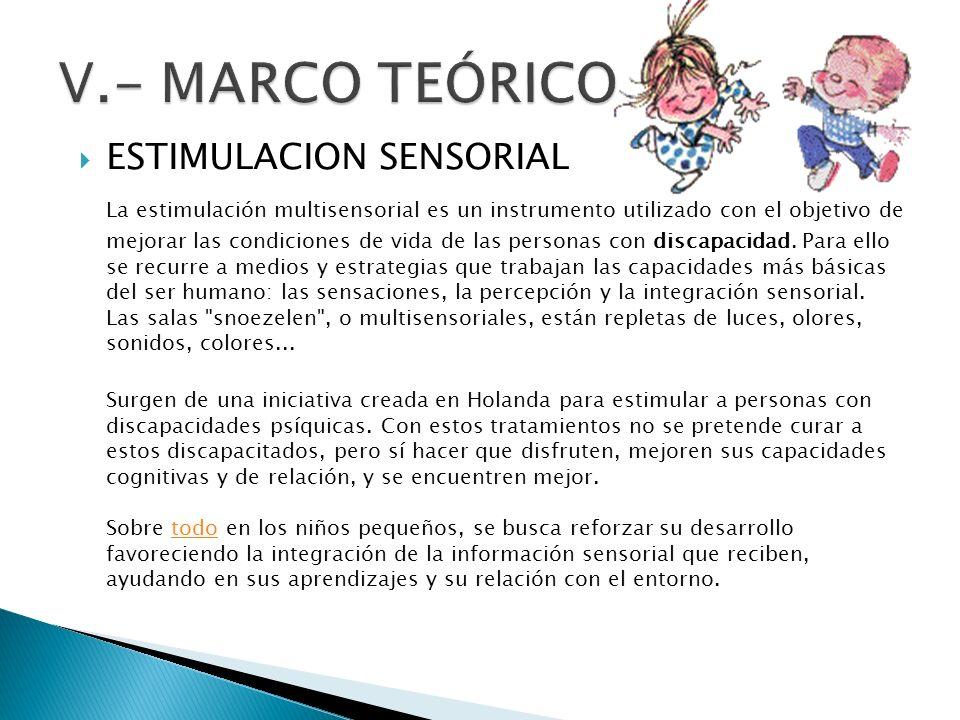V.- MARCO TEÓRICO ESTIMULACION SENSORIAL
