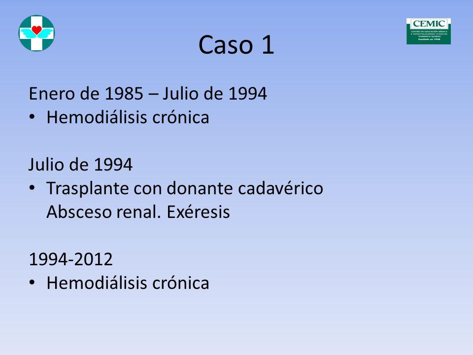 Caso 1 Enero de 1985 – Julio de 1994 Hemodiálisis crónica