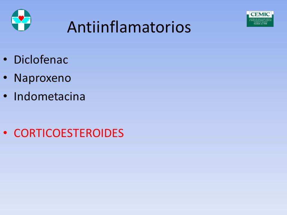 Antiinflamatorios Diclofenac Naproxeno Indometacina CORTICOESTEROIDES