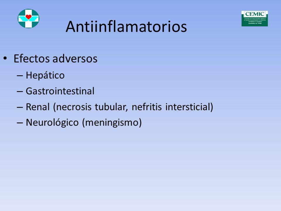 Antiinflamatorios Efectos adversos Hepático Gastrointestinal