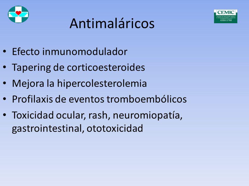 Antimaláricos Efecto inmunomodulador Tapering de corticoesteroides