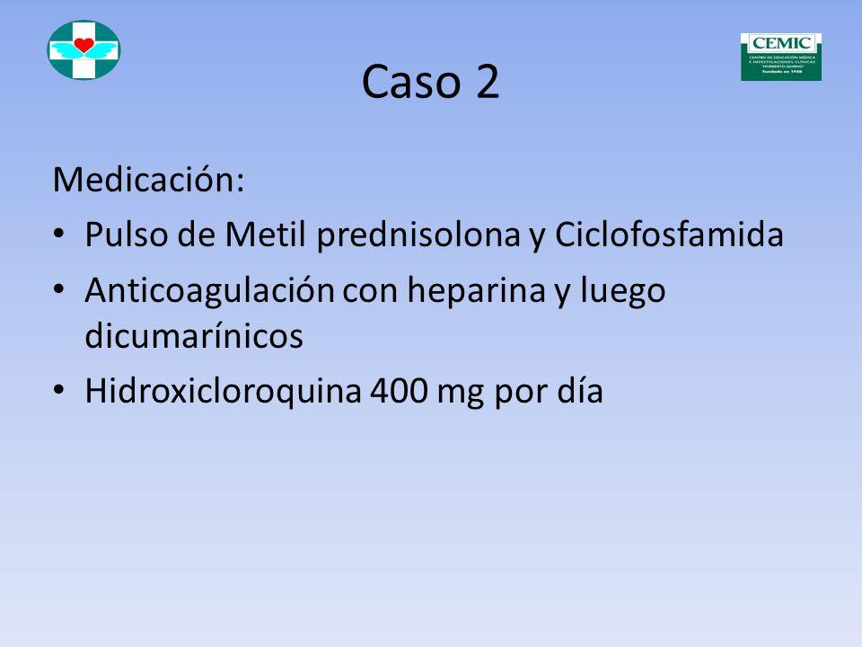 Caso 2 Medicación: Pulso de Metil prednisolona y Ciclofosfamida