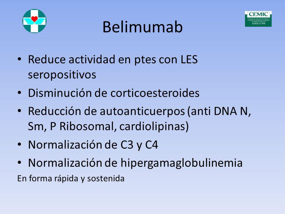 Belimumab Reduce actividad en ptes con LES seropositivos