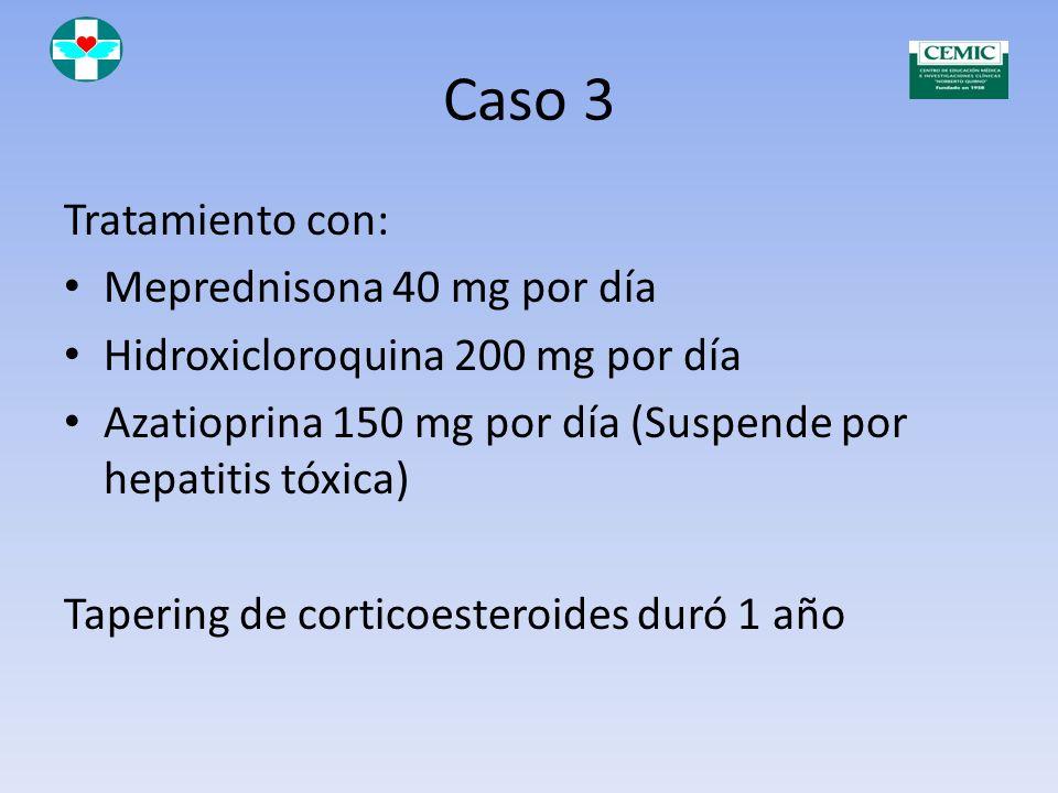 Caso 3 Tratamiento con: Meprednisona 40 mg por día