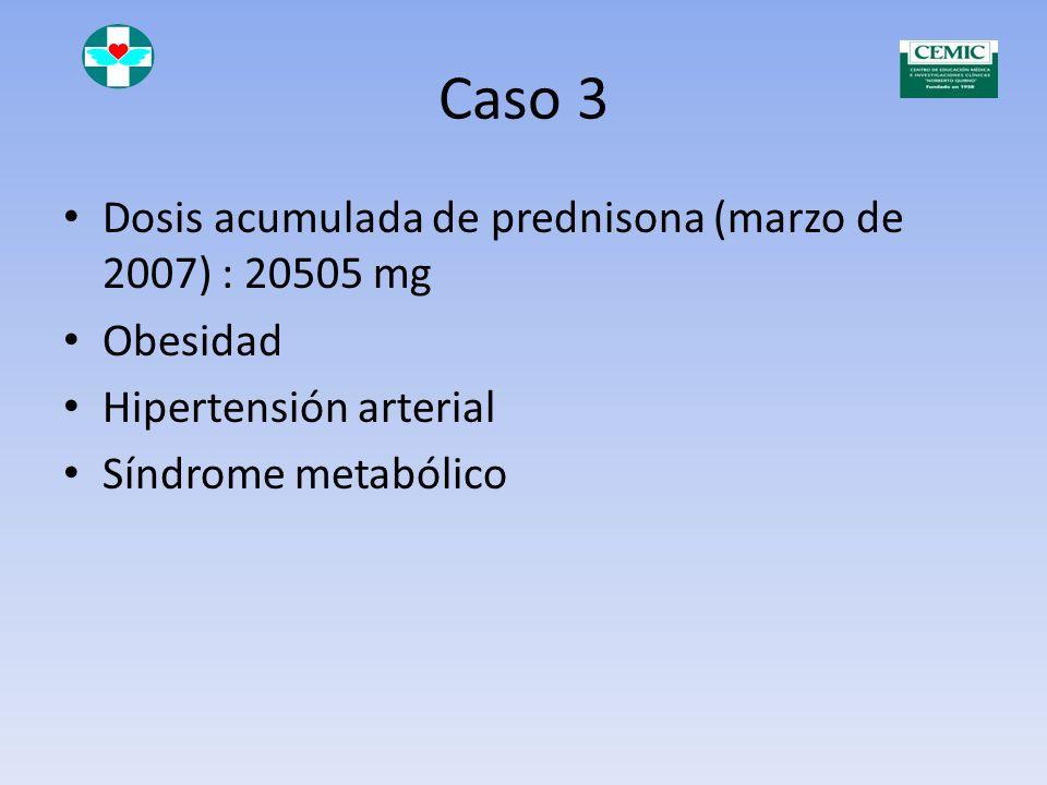 Caso 3 Dosis acumulada de prednisona (marzo de 2007) : 20505 mg