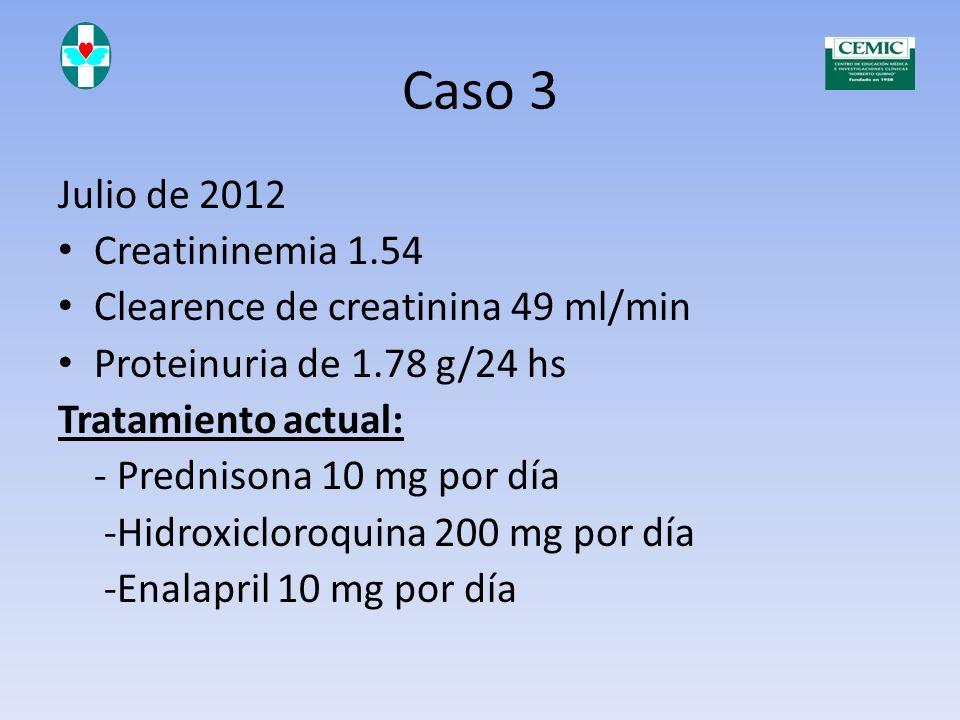 Caso 3 Julio de 2012 Creatininemia 1.54