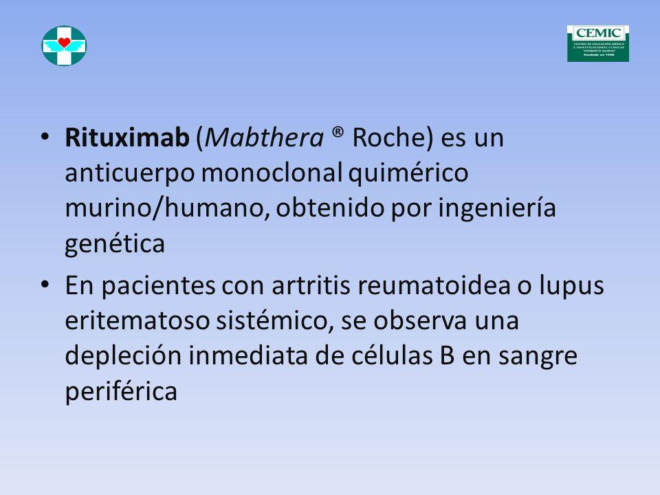 Rituximab (Mabthera ® Roche) es un anticuerpo monoclonal quimérico murino/humano, obtenido por ingeniería genética