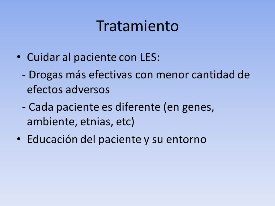 Tratamiento Cuidar al paciente con LES: