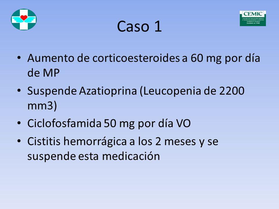 Caso 1 Aumento de corticoesteroides a 60 mg por día de MP