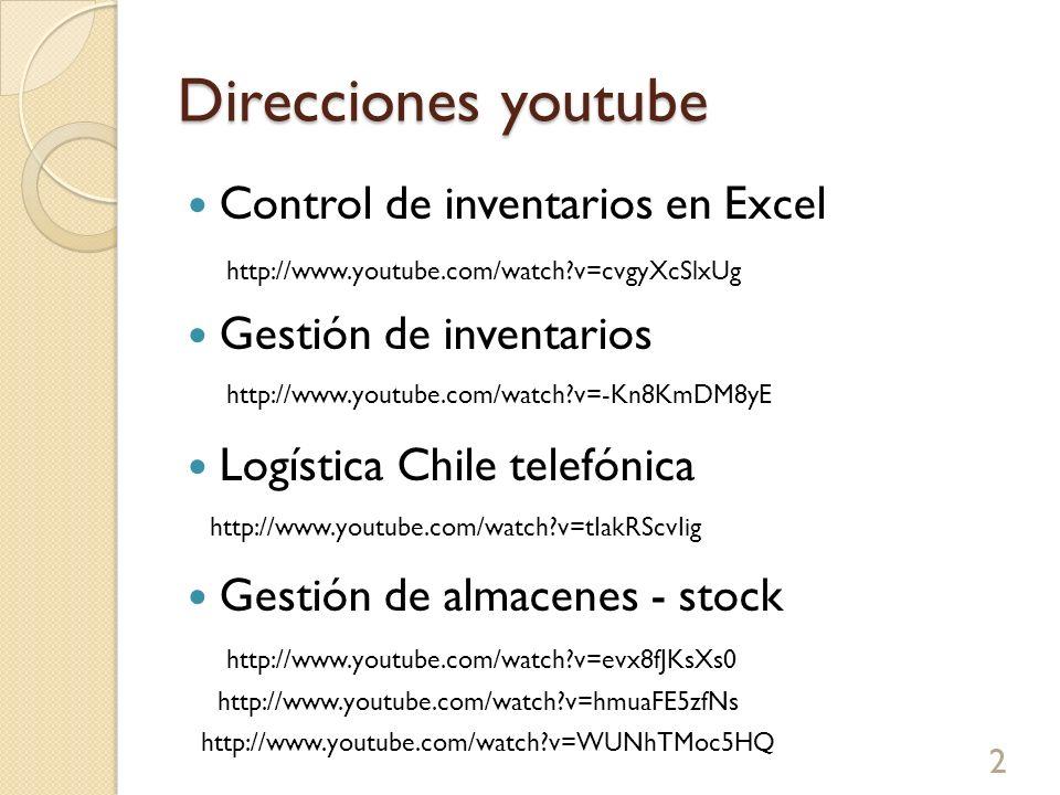 Direcciones youtube Control de inventarios en Excel