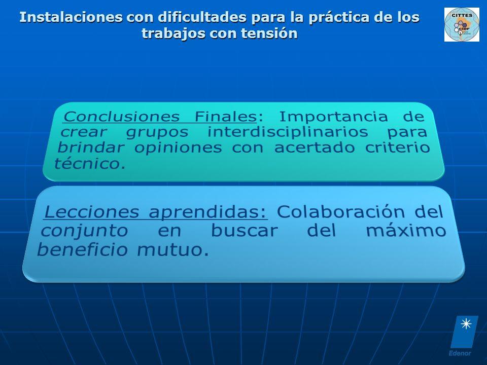Instalaciones con dificultades para la práctica de los trabajos con tensión