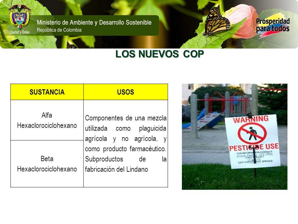 LOS NUEVOS COP SUSTANCIA USOS Alfa Hexaclorociclohexano