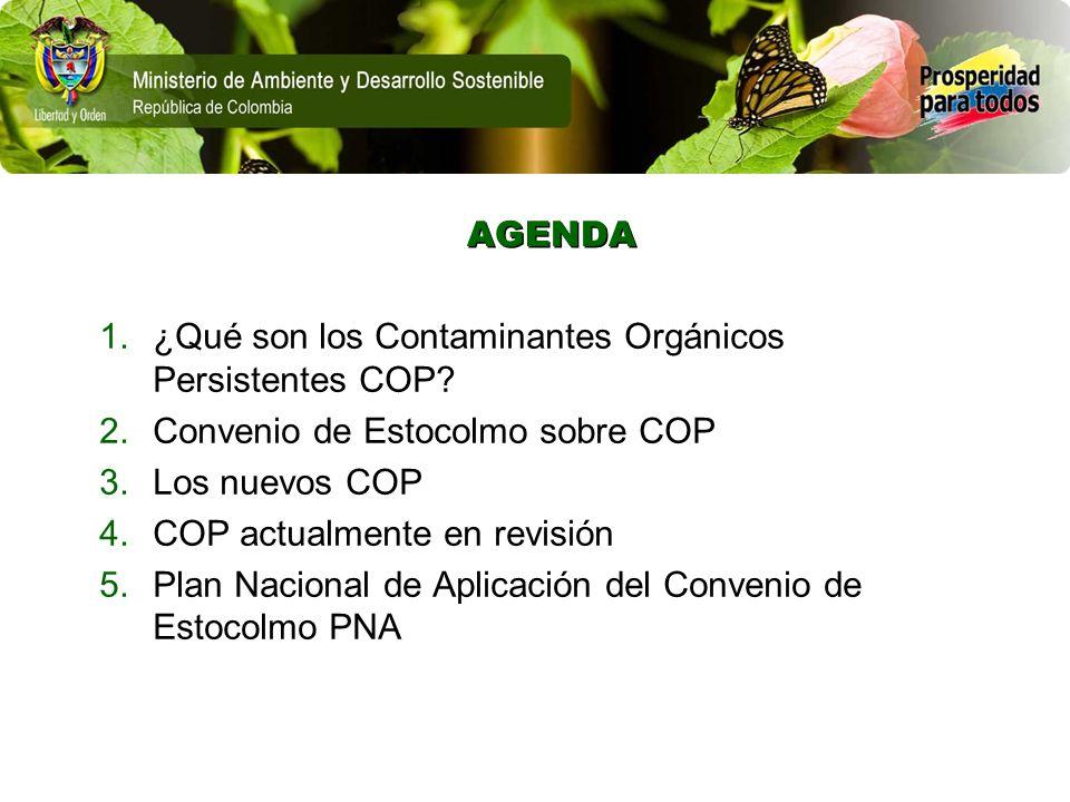 AGENDA ¿Qué son los Contaminantes Orgánicos Persistentes COP Convenio de Estocolmo sobre COP. Los nuevos COP.