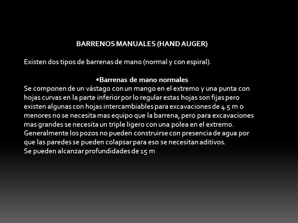 BARRENOS MANUALES (HAND AUGER) Barrenas de mano normales